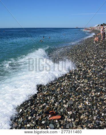 Sochi, Russia October 1, 2016: View Of The Beach In The Sochi, Russia