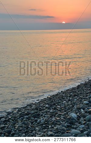 Sunset Over The Sea In The Bay Of Imereti. Sochi, Russia