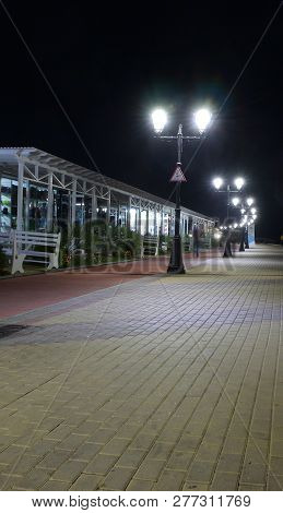 Sochi, Russia October 1, 2016: View Of The Night Walking And Cycling Paths Along The Beach Of Imeret