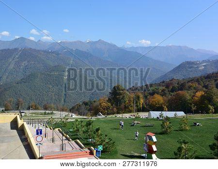 Krasnaya Polyana, Sochi, Russia, 26, October 7, 2016: View Of The Ski Resort Gorky Gorod, Krasnaya P