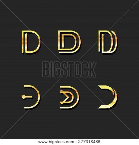 D Letter Logo Template Vector Set. Gold M Symbol Logo Design Set