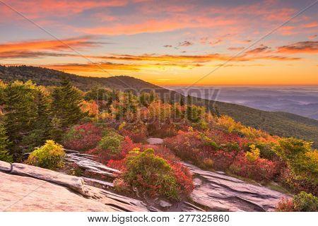 Grandfather Mountain, North Carolina, USA autumn dawn from Rough Ridge in the Blue Ridge Mountains.