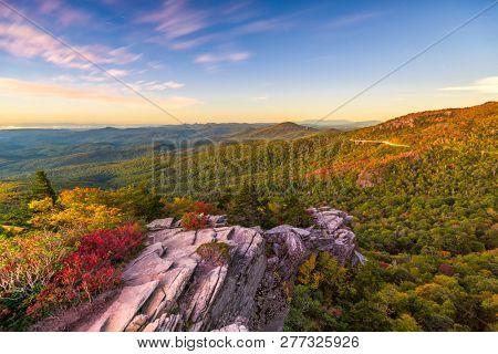 Blue Ridge Mountains landscape at Linn Cove Viaduct and Grandfather Mountain at dawn.