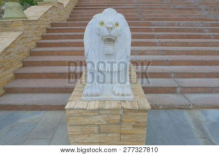 Stone Lion Statue In The Temple, Ulan Ude Russia
