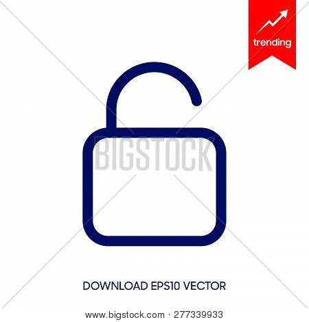 Unlock Icon Isolated On White Background. Unlock Icon Simple Sign. Unlock Icon Trendy And Modern Sym