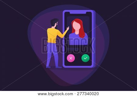 Online Service Dating App Concept With Man And Woman. A Man Looks At Cards With Girls In Search Of M