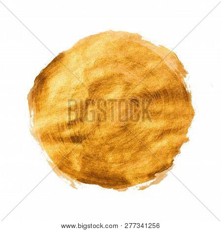 Golden Brown Grunge Acrylic Circle. Isolated Design Element