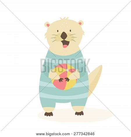 Funny Happy Otter In A Swimming Suit With A Beachball. Animal Character Vector Illustration. Print D