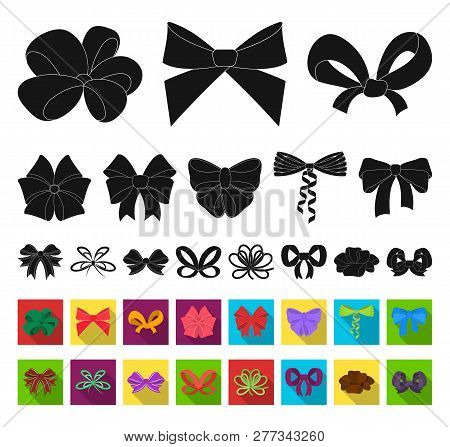 Multicolored Bows Black, Flat Icons In Set Collection For Design.bow For Decoration Vector Symbol St