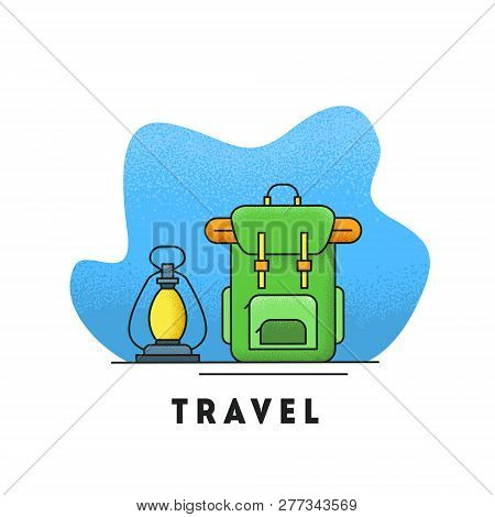 Line Icon With Summer Holiday Activity Concept. Backpack With Kerosene Lamp. Colorful Vector Illustr