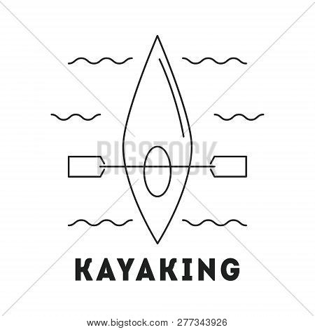 Line Icon With Summer Holiday Activity Concept. Kayak With Paddle In The River. Kayaking And Water A