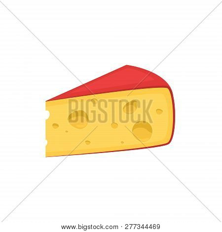 Pieces Of Cheese Isolated On White. Edam Or Gouda Icon. Slice, Chunk In Cartoon Flat Vector. Fresh C