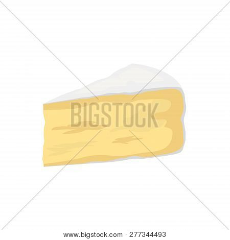Pieces Of Cheese Isolated On White. Camembert Icon. Slice, Chunk In Cartoon Flat Style Vector. Fresh
