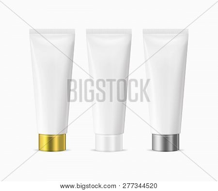 Vector Realistic Illustration Of White Blank Plastic Closed Beauty Cosmetic Tube Set Isolated On Whi