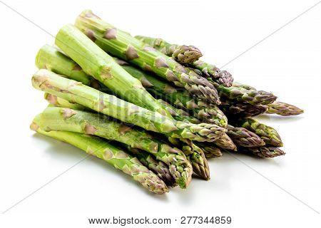 Asparagus Raw Asparagus Fresh Asparagus Green Asparagus On White Backkground.