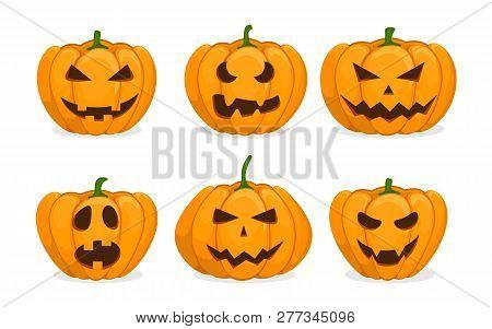 Set Of Orange Pumpkins. Jack-o-lantern On White Background. Emotional Face Expression. Carved Scary
