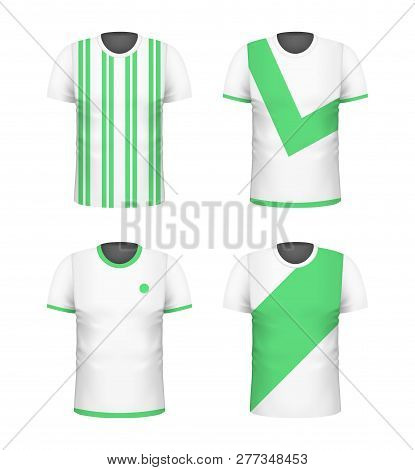 T-shirt With Green Print Template Set. White Color. Sport Football Clothing. Casual Men Wear. Cotton