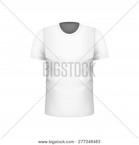 Realistic Blank White Men Short Sleeve T-shirts Template For Brand Design. Fashion Clothes. Vector I