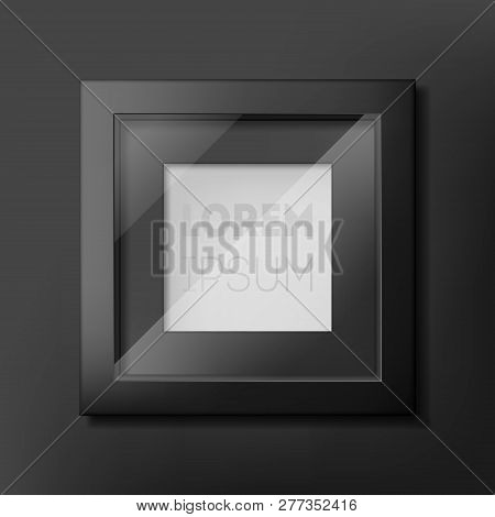Black Photo Frame Design On Gray Wall. Perfect For Showing Your Text And Picture Or Products For Adv