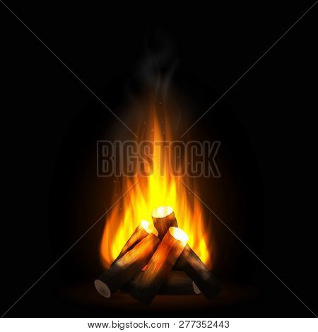 Realistic Burning Bonfire With Wood. Blazing Campfire, Firewood And Smoke. Bright Flame. Design Elem