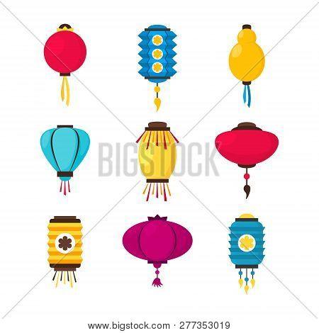 Set Of Colorful Flat Paper Street Chinese Lanterns. Holiday Decorative Graphic Design Element. Hangi