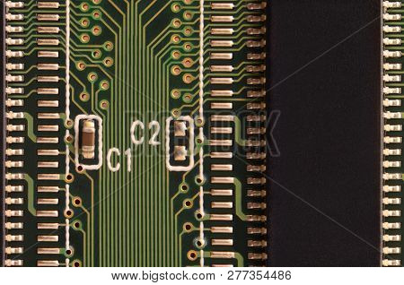 Close Up Of Colored Micro Circuit Board. Abstract Technology Background
