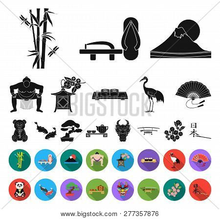 Country Japan Black, Flat Icons In Set Collection For Design.japan And Landmark Vector Symbol Stock