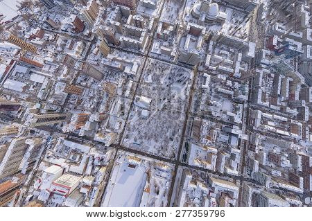 Winter Landscape Aerial View Of The City Of Novosibirsk, With The Opera And Ballet Theater, A Stadiu