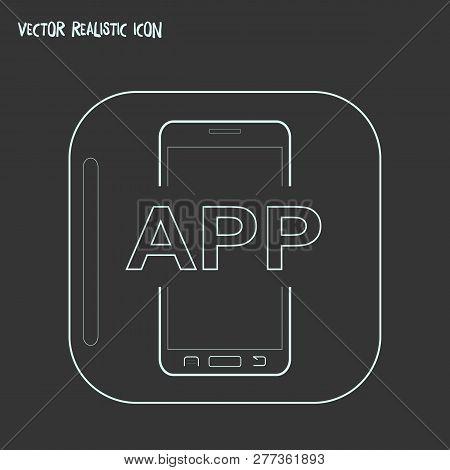 Mobile App Icon Icon Line Element.  Illustration Of Mobile App Icon Icon Line Isolated On Clean Back