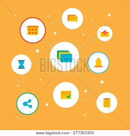 Set Of Task Manager Icons Flat Style Symbols With Completed Tasks, Share, Hourglass And Other Icons