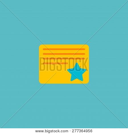 Starred Task Icon Flat Element.  Illustration Of Starred Task Icon Flat Isolated On Clean Background