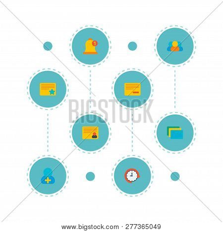 Set Of Project Icons Flat Style Symbols With Add Member, Postpone, Members And Other Icons For Your