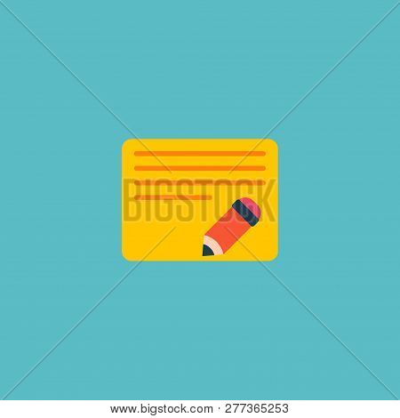 Edit Task Icon Flat Element.  Illustration Of Edit Task Icon Flat Isolated On Clean Background For Y