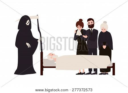 Group Of Sad People Dressed In Mourning Clothes And Grim Reaper With Scythe Standing Near Dead Perso