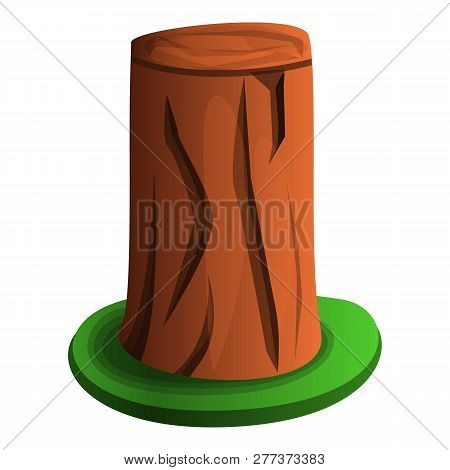 Tree Stump With Grass Icon. Cartoon Of Tree Stump With Grass Icon For Web Design Isolated On White B