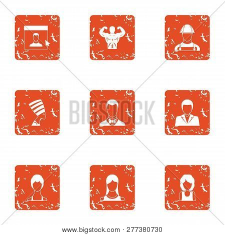 Fascination icons set. Grunge set of 9 fascination icons for web isolated on white background poster
