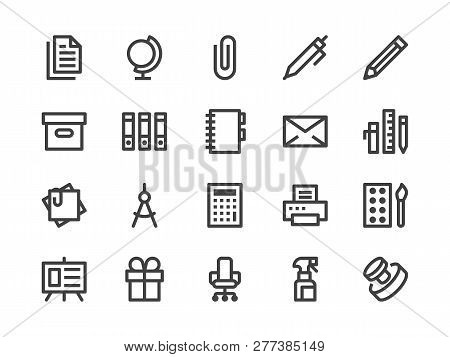 Stationery Supplies Store Line Icon. Vector Illustration Flat Style. Included Icons As Office Furnit
