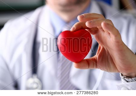 Male Medicine Doctor Hold In Arms Red Toy Heart In Front Of His Chest Closeup. Cardio Therapeutist S