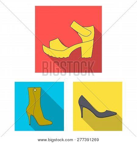 Vector Illustration Of Heel And High Symbol. Set Of Heel And Stiletto Stock Vector Illustration.