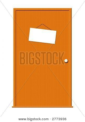 Wood Door With Sign