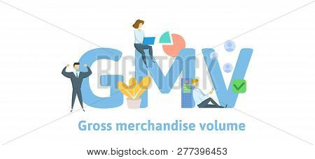 Gmv, Gross Merchandise Volume. Concept With Keywords, Letters And Icons. Flat Vector Illustration. I