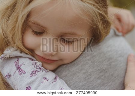 Little Girl Embrace Her Mother. Childrens Day. Small Baby Girl. New Life Concept. Family Values. I L