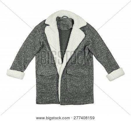 Grey Winter Coat Isolated On White Background