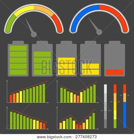 Set Of Different Level Indicators. Vector Images. Eps 10