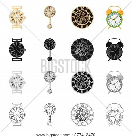 Isolated Object Of Clock And Time Logo. Collection Of Clock And Circle Stock Vector Illustration.