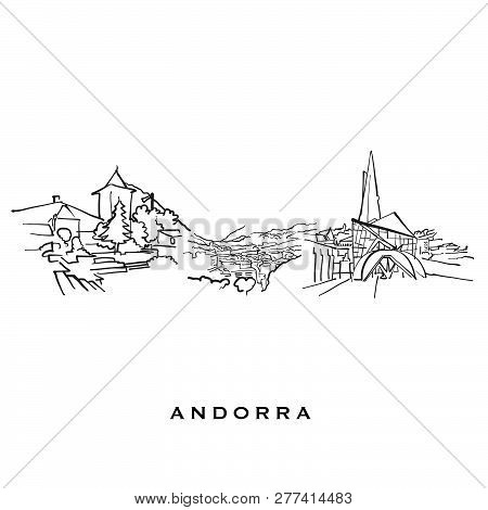 Andorra Famous Architecture. Outlined Vector Sketch Separated On White Background. Architecture Draw