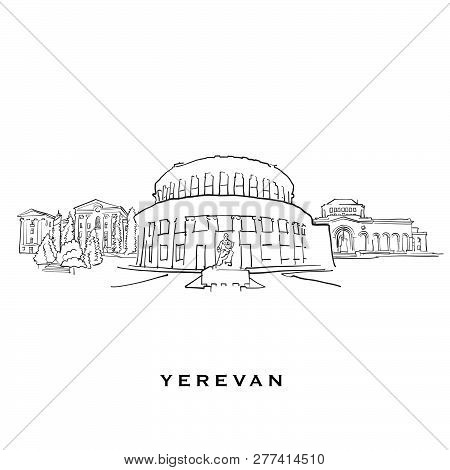 Yerevan Armenia Famous Architecture. Outlined Vector Sketch Separated On White Background. Architect