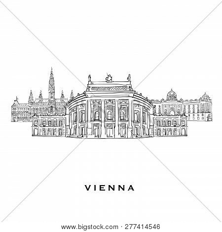Vienna Austria Famous Architecture. Outlined Vector Sketch Separated On White Background. Architectu