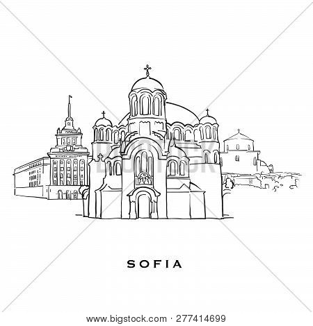 Sofia Bulgaria Famous Architecture. Outlined Vector Sketch Separated On White Background. Architectu