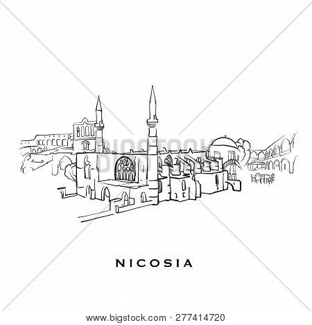 Nicosia Cyprus Famous Architecture. Outlined Vector Sketch Separated On White Background. Architectu